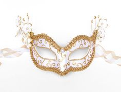 White & Gold Embellished Masquerade Mask  Venetian by SOFFITTA