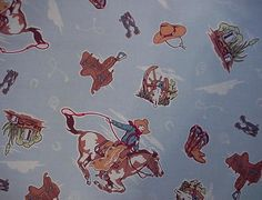 Western Cowboy Fabric Large Fat Quarter  Vintage by ITSYOURCOUNTRY, $4.99