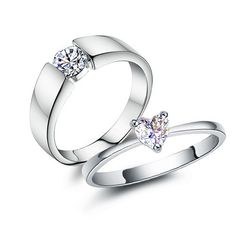 Fashion Heart Style Cubic Zirconia 925 Sterling Silver Plated White Gold Rings for Lovers