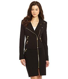 Calvin Klein Luxe Moto Zip Jacket-Urban Chic! amazing working goldtone zippers & zip cuffs, stretch knit, polyester/rayon/spandex, Nordstrom Rack (size 2)
