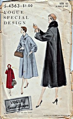 1950's Vogue Special Design Coat Pattern  by ShellMakeYouFlip