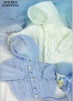 Patons Double Knitting Hooded Cable Baby Jacket Cute baby button up cardigan with hood and gorgeous cable stitch. Great for the intermediate knitter. Pattern More Knitting Patterns Like This Baby Cardigan Knitting Pattern Free, Baby Sweater Patterns, Knit Baby Sweaters, Baby Patterns, Free Knitting, Sweater Mittens, Hoodie Pattern, Jacket Pattern, Knitting Needles