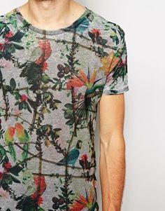 River Island T-Shirt With Parrot Floral Print