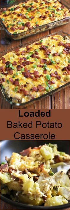Wholesome Meals Loaded Baked Potato Casserole full of cheesy, gooey, bacon-y, chicken-y wholesome goodness can be on your table and feed a crowd in 45 minutes! Potato Dishes, Potato Recipes, Vegetable Recipes, Food Dishes, New Recipes, Main Dishes, Chicken Recipes, Dinner Recipes, Cooking Recipes