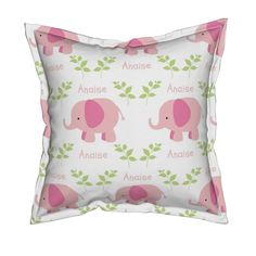 Serama Throw Pillow featuring Elephants in A Row 7 - Pink  personalized - Anaise by drapestudio | Roostery Home Decor