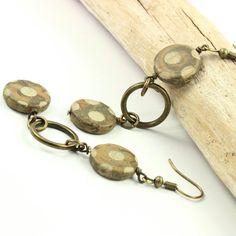 Boho Earrings Rustic Brass Earthy Brown by AbacusBeadCreations