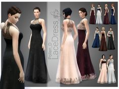Elegant long lace dress for ladies. Found in TSR Category 'Sims 4 Female Formal' Sims 4 Dresses, Formal Dresses, Formal Outfits, Rock Outfits, Emo Outfits, Party Dresses, Sims4 Clothes, Witch Dress, Sims 4 Cc Skin