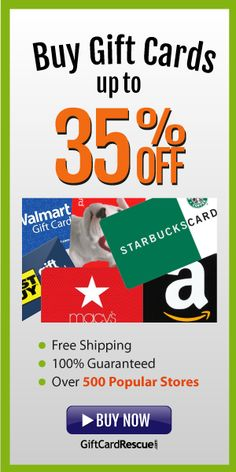 Buy discounted gift cards to over 300 popular brands for up to 30% off. You can also sell your unwanted gift cards to us for cash. Follow us on Twitter: http://twitter.com/giftcardrescue