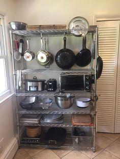 Best Kitchen Appliance Storage Rack Design Ideas For You 01 – Home Design Kitchen Rack Design, Pantry Design, Storage Design, Major Kitchen Appliances, Diy Kitchen Appliance Storage, Kitchen Storage Racks, Wire Kitchen Rack, Kitchen Utensils, Kitchen Interior
