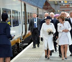 The Queen at St Pancras International station in London before boarding a train to Paris for her State Visit, 5 June 2014.