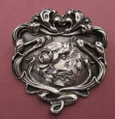 Art Nouveau Sterling Silver Brooch Unger Brothers Lady With Flowers Antique Pin Jewelry