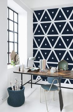 Convex Wall Mural Geometric wallpaper Monochrome and Traditional