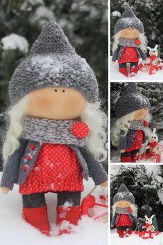 Christmas Winter Doll Interior Decor Doll Handmade Soft Rag Doll Textile Fabric Doll Tilda Art Red Doll Cloth Baby Nursery Doll by Oksana Z __________________________________________________________________________________________ Hello, dear visitors! This is handmade cloth doll