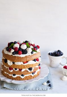 Eaton Mess Cake with crisp meringues, sweetened cream and fresh berries. A refreshing cake for spring and summer celebrations. | By Tessa Huff for TheCakeBlog.com