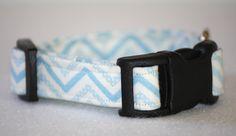 Puppy/Dog Collar - XSmall - Baby Blue Chevron by PatienceWayShop on Etsy