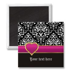 Black white #damask with hot pink band and heart #magnet. #hotpink