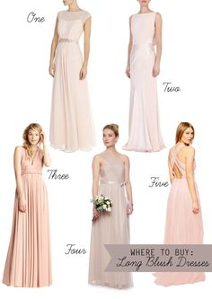 Long Blush Bridesmaids Dresses