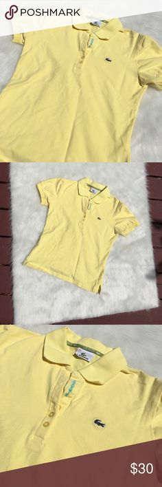 🐊🍋Lacoste Polo Shirt 🍋 Lightly worn yellow authentic Lacoste polo shirt. Small spotted Steen pictured in the last photo up close. This spots  can be cleaned, but they are very unnoticeable. Lacoste Tops