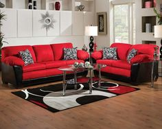 Red And Black Sofa Set - Sleeper sofas are extremely popular, and with great reason. Sofa And Loveseat Set, Sofa Couch, Couch Set, Sofa Cushions, White Loveseat, Chesterfield Sofa, Black Living Room Set, Living Room Sofa, Living Room Furniture
