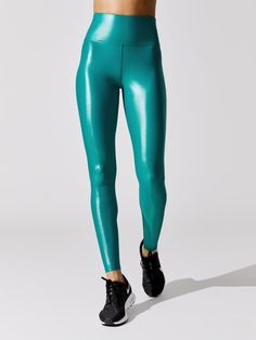 High Rise Full-Length Legging in Takara Shine Fitness Outfits, Workout Attire, Sports Leggings, Workout Tops, Leather Pants, Crop Tops, Stylish, Clothes, Women