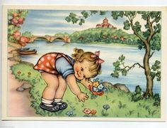 MARIAPIA Lisetta raccoglie Fiori Childrens Girl w Flowers PC circa 1940 Italy | eBay
