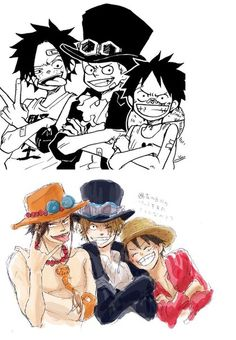 One Piece: Ace, Sabo, and Luffy Anime One Piece, One Piece Comic, One Piece Fanart, One Piece New World, One Piece Crew, One Piece Images, One Piece Pictures, Monkey D Luffy, Art Manga