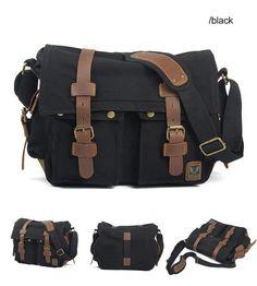Black Canvas Leather Camera Bag Leisure Shoulder Bag Messenger Bag DSLR Camera Bag ********************************************** We use selected thick cotton waxed canvas, quality hardware and Canvas Messenger Bag, Messenger Bag Men, Leather Camera Bag, Leather Crossbody Bag, Crossbody Bags, Leather Bags, Cameras Nikon, Dslr Camera Bag, Camera Gear