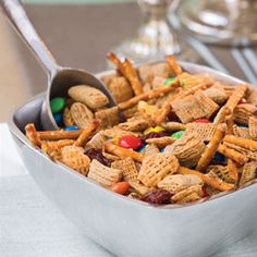 Microwave Snack Mix --my friend made this for a weekend snack and we all fought over the bag until it was gone (probably by Friday night). Recommend using only one envelope Ranch dressing.