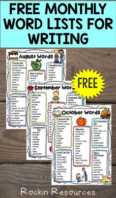 Start of your school year with 3 Free Monthly Word Lists awesome for writing poetry and stories in your classroom and centers!  They are theme-based.