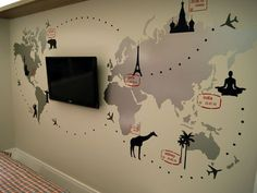 Adesivo de Mapa Múndi   World Map Wallpapper Aviation Decor, World Map Decor, Office Wallpaper, Diy Wall Stickers, Coffee Shop Design, Creative Walls, Toy Rooms, Room Wall Decor, Home Office Decor