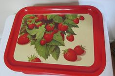 Strawberry Design Trays Set of 6 Red Serving by LuRuUniques