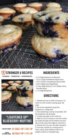 You'll never believe you're eating an 80-calorie muffin! Follow us on Instagram @strongeru or the tag #strongerurecipes for more healthy recipes. Healthy Muffin Recipes, Healthy Baking, Healthy Desserts, Breakfast Recipes, Low Calorie Recipes, Diet Recipes, Cooking Recipes, Skinny Recipes, Protein Muffins
