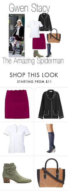 """""""Gwen Stacy 7"""" by madelinem-2002 ❤ liked on Polyvore featuring Valentino, Burberry, Fogal, Yves Saint Laurent, Marvel, Dorothy Perkins, fandom, marvel, Superhero and spiderman"""
