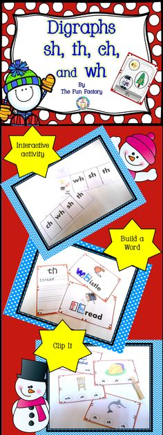 This digraph packet includes eight activity/games, and a fun, interactive practice page for the digraphs sh, th, wh, and ch, as well as, a colorful classroom poster.  These activities/games are great to use as a small group lesson for practicing digraphs or independent practice used within a word work/abc center. Post the poster in the classroom for students to use as a visual aide. All games/activities use the same 24 pictures so your students will easily and quickly learn to be independent.