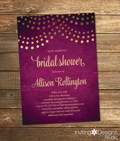 Purple Bridal Shower Invitation, Purple and Gold, String Lights, Wedding Shower Invite, Eggplant Purple (PRINTABLE FILE) by InvitingDesignStudio on Etsy