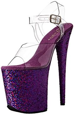 Pleaser Women's Platform Sandal: 8 heel, 4 platform ankle strap sandal featuring holographic glitterhinestone covering the entire platform bottom Best Makeup Brushes, Makeup Brush Set, Best Makeup Products, Makeup Kit Essentials, Brush Sets, Ankle Strap Sandals, Platform, Glitter, Purple