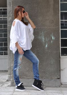 New SS/15 Asymmetric Tunic Top / White Cotton Shirt / Loose Sleeves / Casual Top Design by EUGfashion