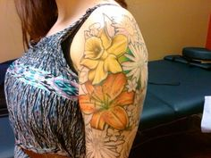 Tattoo - Keep the daffodil, change the lily to a morning glory, add lily of the valley and a blue butterfly. ~LH
