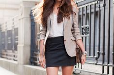 How to wear a blazer and a skirt.