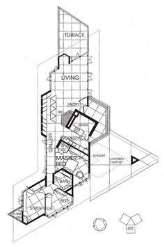 J. Willis Hughes Residence/ Fountainhead. Usonian style. Frank Lloyd Wright. Jackson Mississippi. 1950
