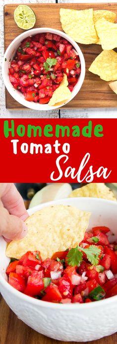 Fresh Homemade Tomato Salsa - Fresh tomatoes combine with onion, jalapeno…