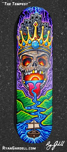 """""""The Tempest"""" is an original painting on a skate deck by Ryan Gardell. Skateboard Deck Art, Skateboard Design, Custom Skateboards, Cool Skateboards, Longboard Design, Graffiti Pictures, Psychedelic Drawings, Sketch Tattoo Design, Graffiti Characters"""