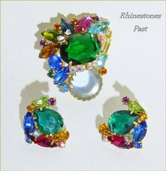 Brooch Earring Set Multi Colors Shapes by RhinestonesPast on Etsy