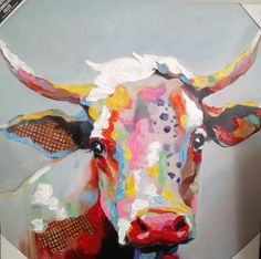 Our Betsy the Cow Canvas Art Print provides a unique take on farmhouse décor. This vibrant print features a beautiful portrait of a cow in striking colors. Cow Painting, Oil Painting On Canvas, Canvas Art Prints, Canvas Wall Art, Art And Illustration, Illustrations, Cow Wall Art, Cow Art, Abstract Animal Art