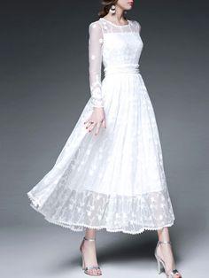 Embroidery Mesh Paneled Maxi Dress