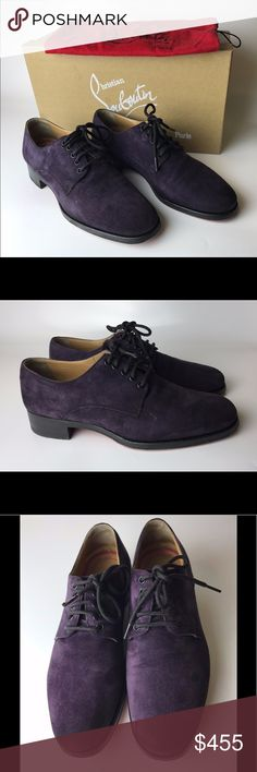 """Louboutin Chorale Mens Purple Suede Boots Eu 41.5 Very good condition! With expensive sole protectors, rubber partly covers Christian Louboutin signature. Scuffing / signs of use on the soles, signs of use on suede and insoles. Come with original dust bag. I'll also send them in original CL box from the other style, that might be useful for storage. No receipt is kept.   Insole is 10.94""""  Please note, that European designer shoes typically run smaller then US designers. Christian Louboutin…"""