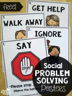 Problem Solving Posters {FREE FREE Social Problem Solving Posters - great for the classroom wall! - This Reading MamaFREE Social Problem Solving Posters - great for the classroom wall! - This Reading Mama Social Skills Activities, Teaching Social Skills, Social Emotional Learning, Social Skills Lessons, Teaching Art, Life Skills, Art Lessons, Emotional Support Classroom, Positive Behavior Support