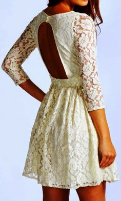 3/4 Sleeves White Lace Backless Dress