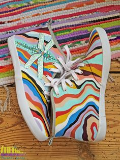 Casual Fashion Shoes for girls - Hand Painted Sneakers with colorful stripes and dragonfly  -facebook: Lulush.Shoes