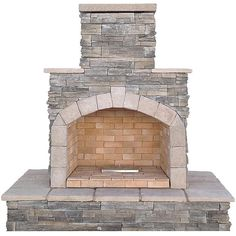 Cal Flame Cal Flame 78 in. Gray Cultured Stone Propane Gas Outdoor Fireplace